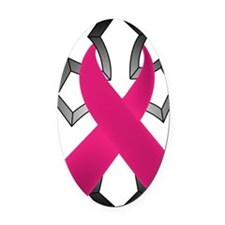 Breast Cancer Ribbon Wrapped Aroun Oval Car Magnet