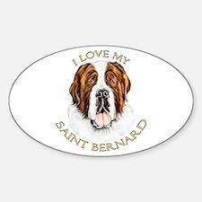 I Love My St Bernard Oval Decal