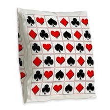 Playing card suits pattern Burlap Throw Pillow