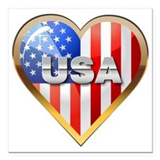 "US Heart Square Car Magnet 3"" x 3"""