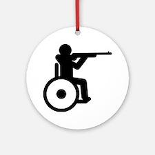 Wheelchair-Shooting-A Round Ornament