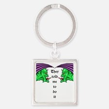 Green Demons Square Keychain