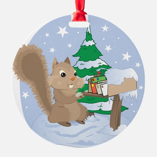 Winter Squirrel Scene Ornament