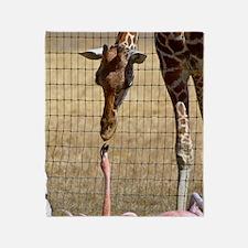 Giraffe and Flamingo Throw Blanket