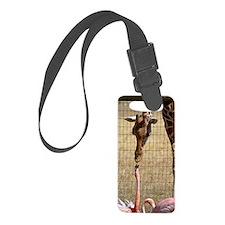 Giraffe and Flamingo Luggage Tag