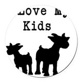 I love goats Round Car Magnets