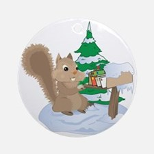 Winter Squirrel Round Ornament