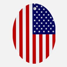 American Flag Oval Ornament