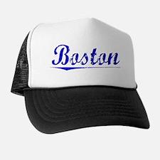 Boston, Blue, Aged Trucker Hat