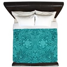 Leather Floral Turquoise King Duvet