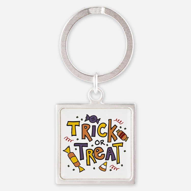 Trick Or Treat Square Keychain