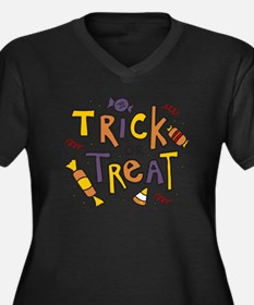 Trick Or Tre Women's Plus Size Dark V-Neck T-Shirt