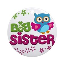 Cute Owl Big Sister Round Ornament