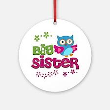 Cute Owl Big Sister Round Ornament