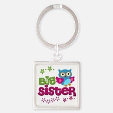 Cute Owl Big Sister Square Keychain
