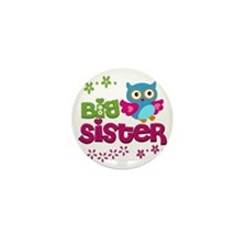 Cute Owl Big Sister Mini Button