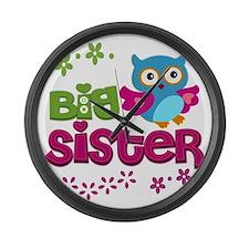 Cute Owl Big Sister Large Wall Clock