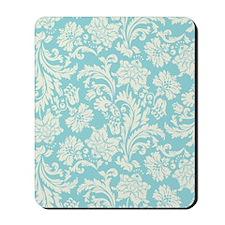 Turquoise and Cream Damask Mousepad