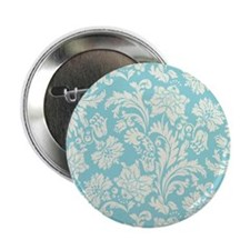 "Turquoise and Cream Damask 2.25"" Button"