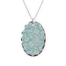 Turquoise and Cream Damask Necklace