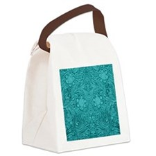 Leather Floral Turquoise Canvas Lunch Bag