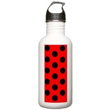 Red Black Polka Dots D Water Bottle