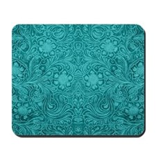 Leather Floral Turquoise Mousepad