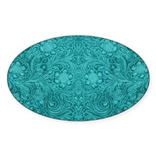 Leather Floral Turquoise Decal