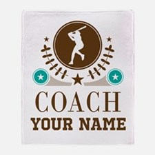 Baseball Coach Personalized Throw Blanket