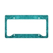 Leather Floral Turquoise License Plate Holder