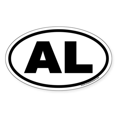 Alabama AL Euro Oval Sticker