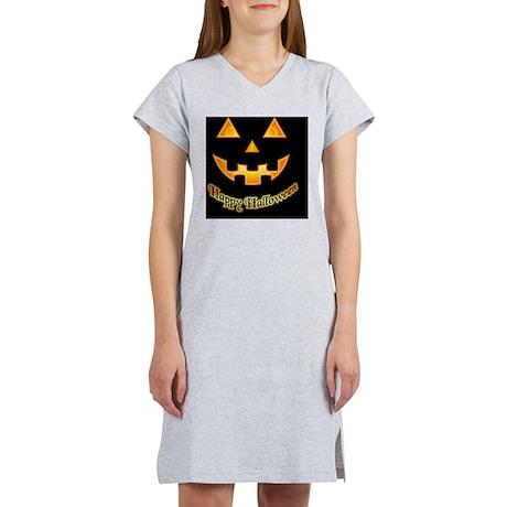 Pumpkin face on black Women's Nightshirt