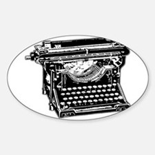 Old Fashioned Typewriter Oval Decal