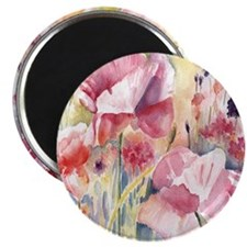 Pink Poppies Shower Curtain Magnet