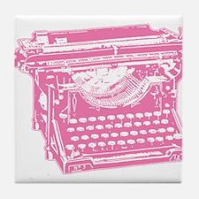 Pink Typewriter Tile Coaster
