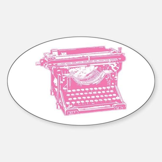 Pink Typewriter Oval Decal