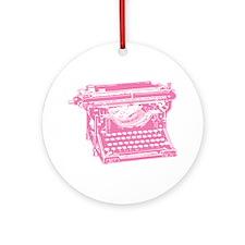 Pink Typewriter Ornament (Round)