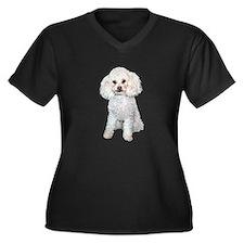 Poodle - Min Women's Plus Size V-Neck Dark T-Shirt