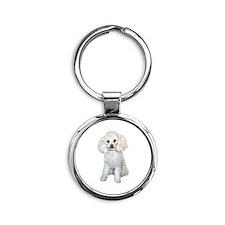 Poodle - Min (W) Round Keychain