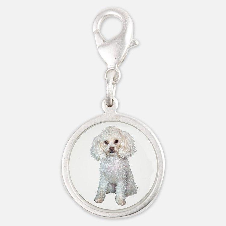 Poodle - Min (W) Silver Round Charm