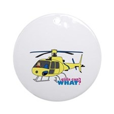 Girl Helicopter Pilot Ornament (Round)