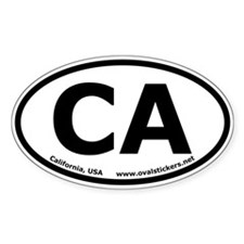 California, USA Oval Car Bumper Decal