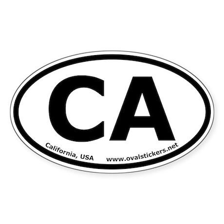 California, USA Oval Car Bumper Sticker