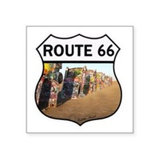 "Route 66 - Cadillac Ranch Square Sticker 3"" x 3"""