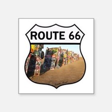 "Route 66 - Cadillac Ranch Square Sticker 3"" x 3"""