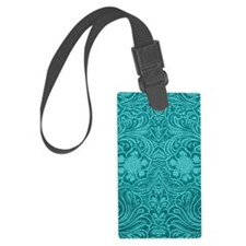 Leather Floral Turquoise Luggage Tag
