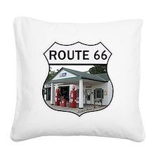 Route 66 - Amblers Texaco Gas Square Canvas Pillow