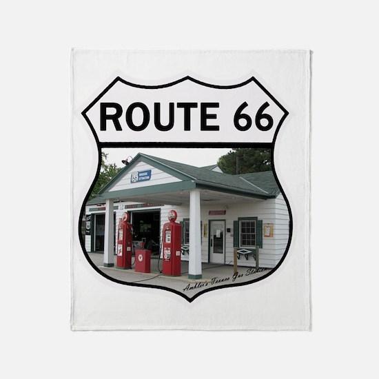 Route 66 - Amblers Texaco Gas Statio Throw Blanket