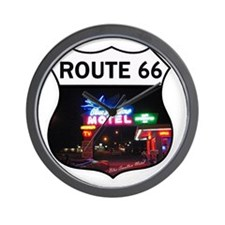 Route 66 - Blue Swallow Motel, Tucumcar Wall Clock