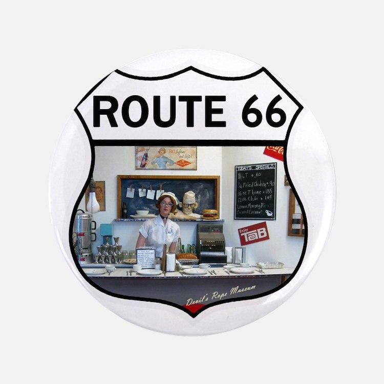 "Route 66 - Devils Rope Museum - Texas 3.5"" Button"